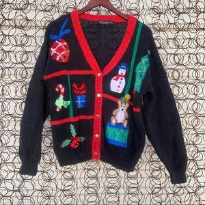 Vintage knit ugly Christmas cardigan sweater